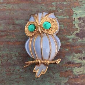 Vintage Periwinkle Blue Enameled Owl Brooch Pin